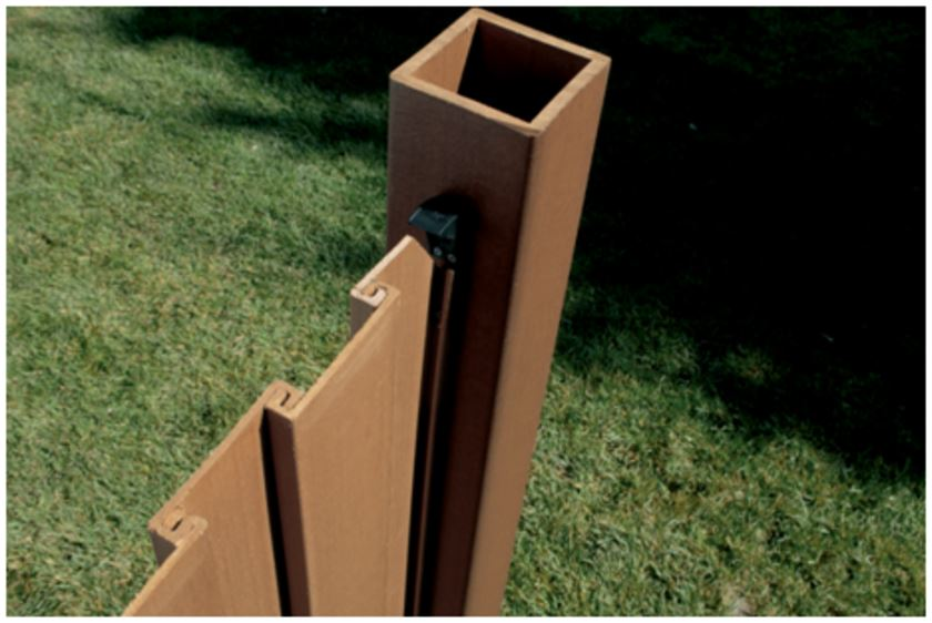 A top view of a Trex fence that shows how pickets interlock before the top rail is placed over them.