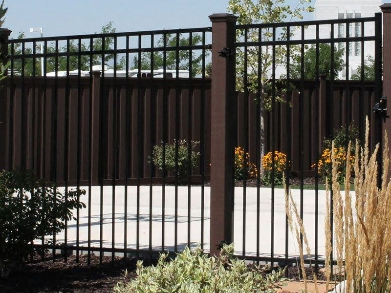 Trex-Woodland-Brown-Posts-with-Ornamental-Iron