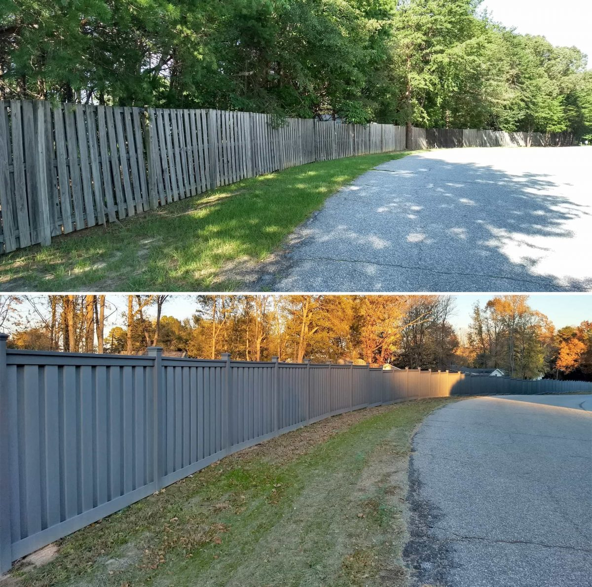 Before and after pictures of wood and Trex fencing