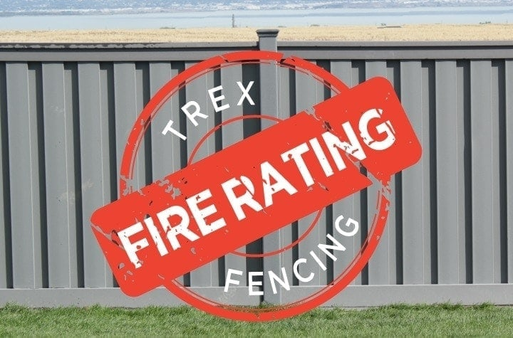 Trex Fence featuring a fire rating stamp