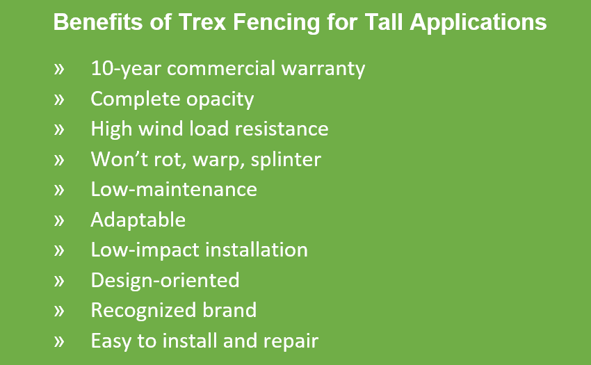 A list of Trex Fence benefits that are important for architects to evaluate when deciding if Trex is the right solution for their projects.