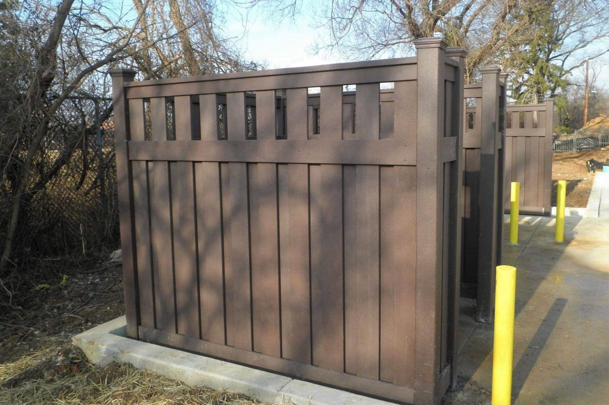 This is a Trex Fencing Semi-Privacy Enclosure for an apartment complex in Washington, D.C.