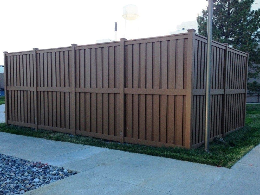 A utility enclosure built from Trex Fencing for a hospital