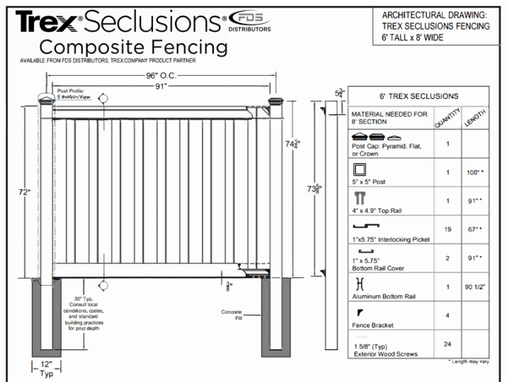 Trex Fencing architectural drawings