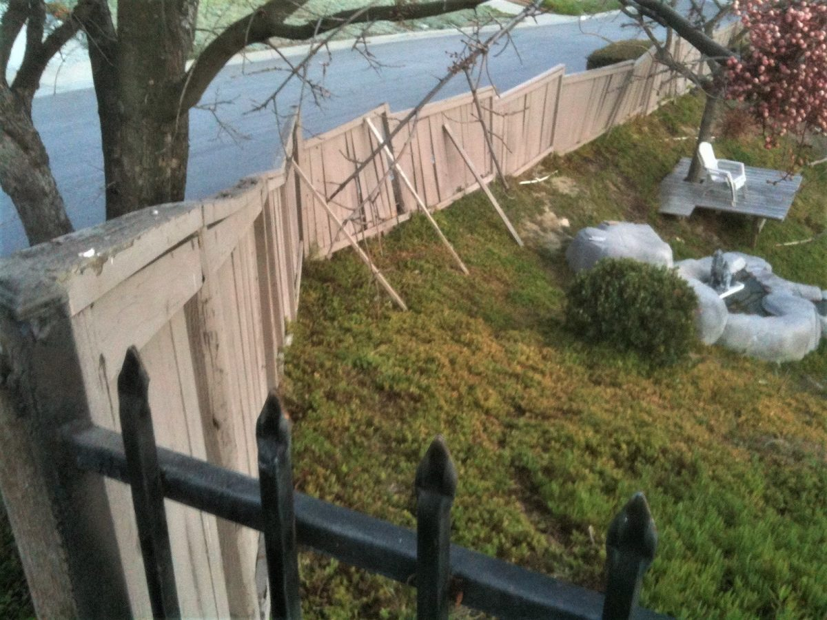 A picture of a dilapidated wood fence before upgrading it with a Trex Fence