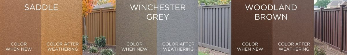 Side-by-side images of Trex Fencing color swatches showing pictures of the product when it is new and when it weathers (or fades).