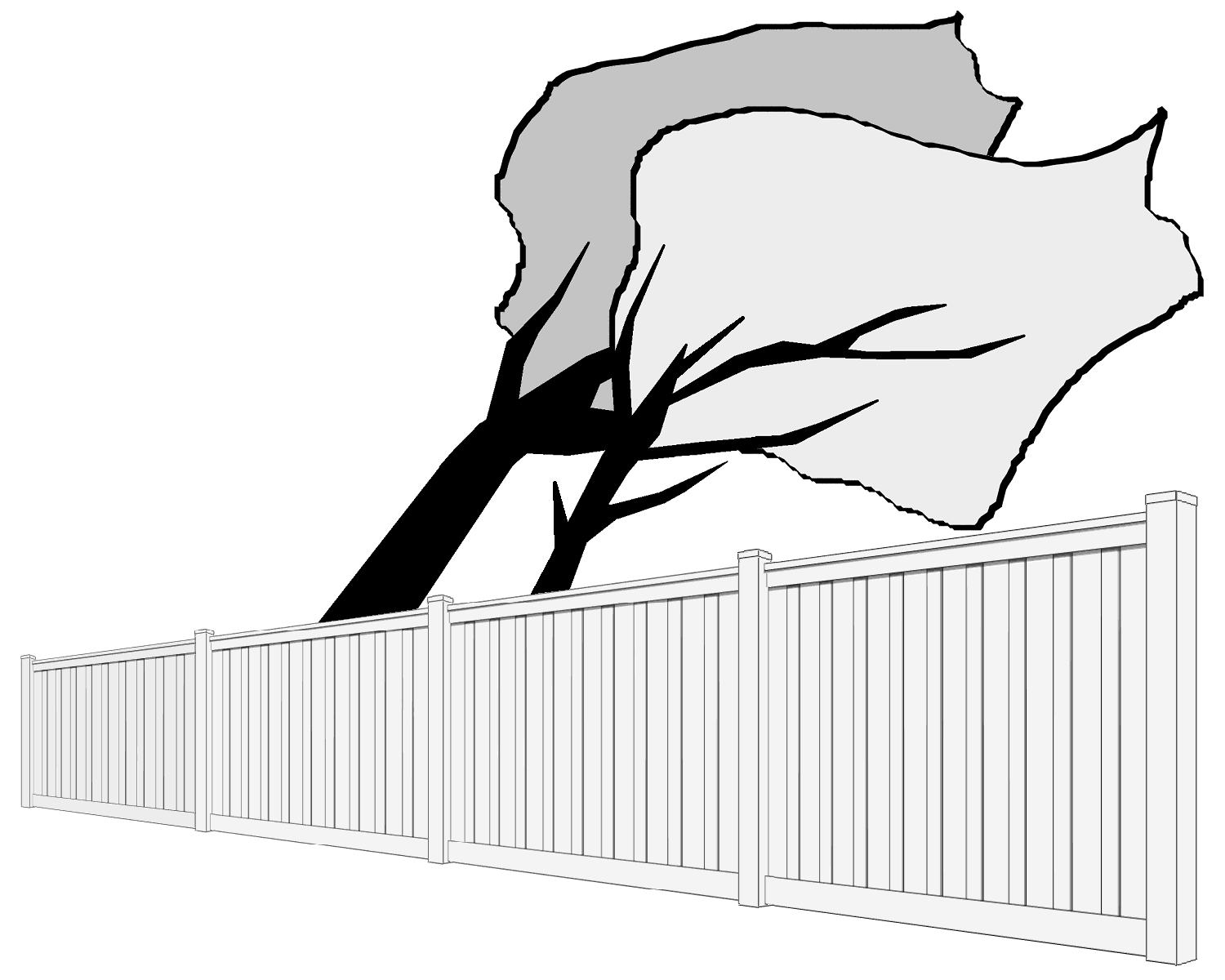 Clip art image of a Trex Fence standing up to high winds while trees are being blown hard behind the fence.