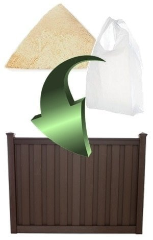 Sawdust and plastic bags combining to form a Trex composite fence panel.