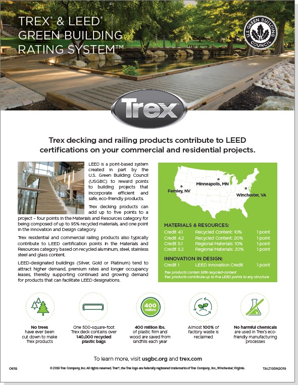 An image of the Trex LEED point contribution bulletin