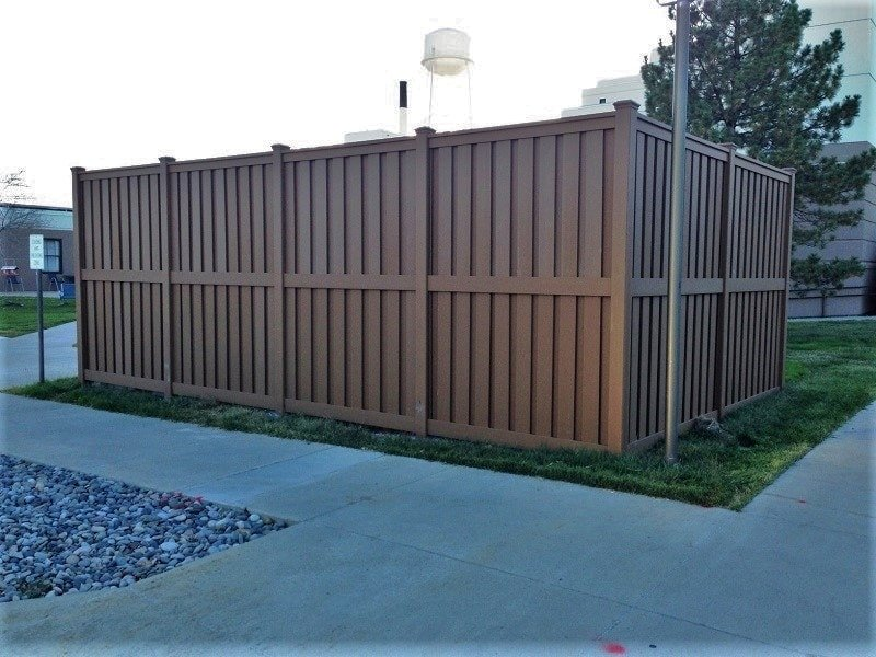 A Trex Fence Utility enclosure for the Grand Junction VA Medical Center