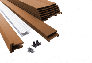 A stack of Trex composite fencing materials