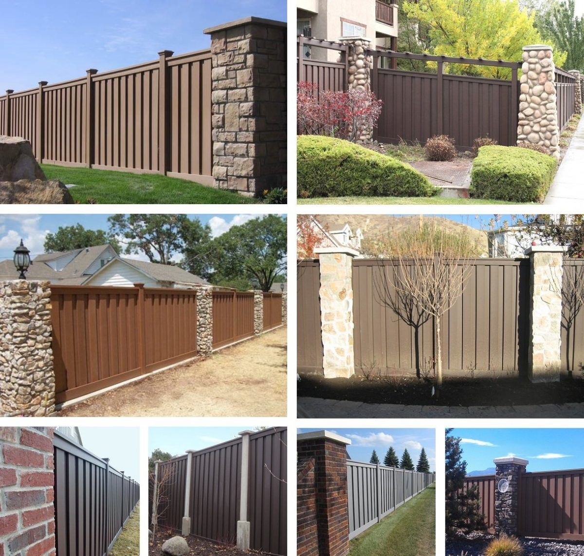 A collage of Trex Fences built between stone colums and brick pillars.