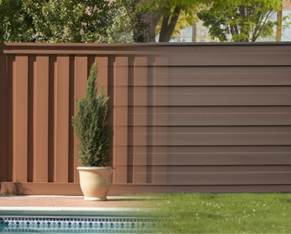 A blended picture of Trex Fence with vertical and horizontal pickets