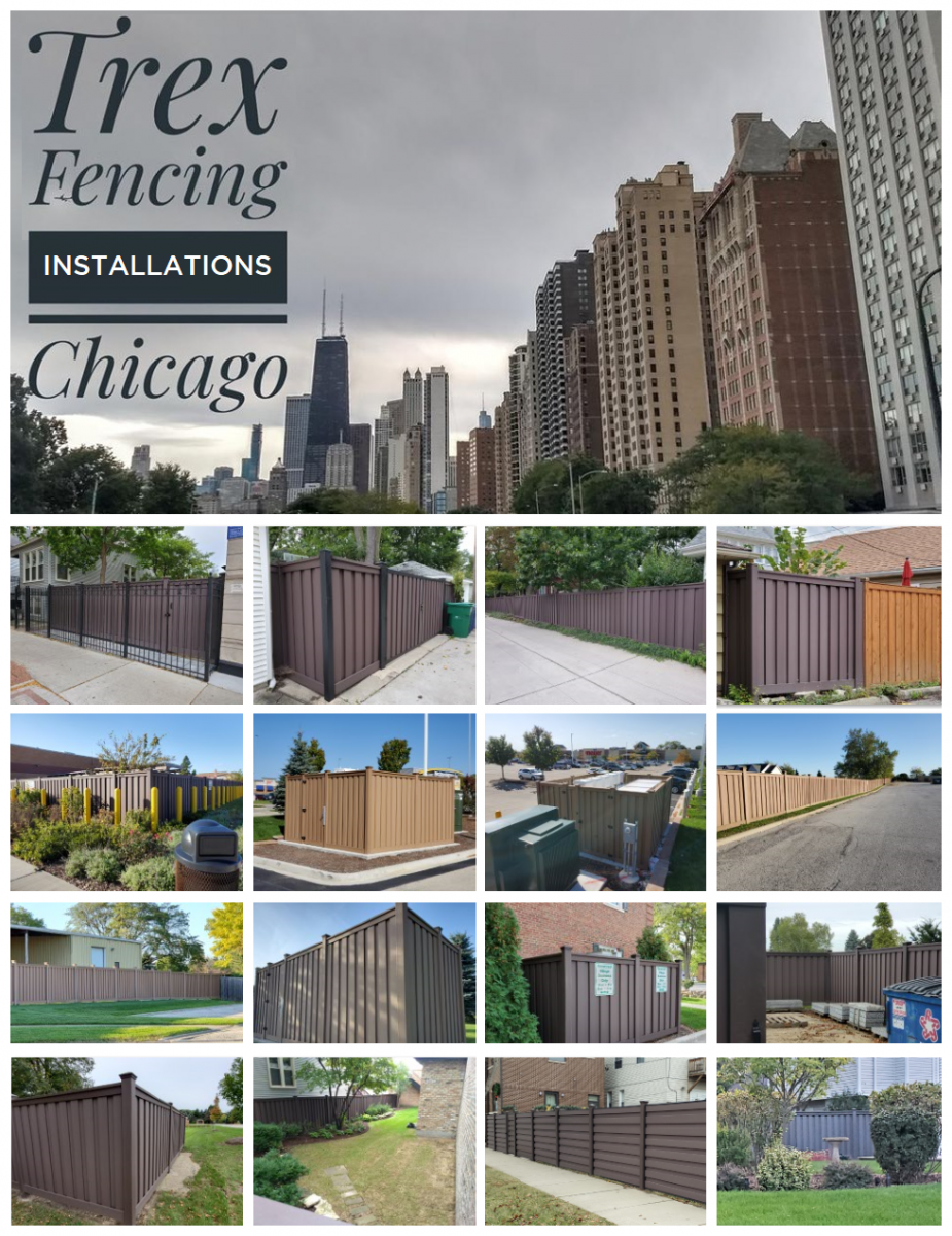 A collage of Trex Fences installed in the Chicagoland area.