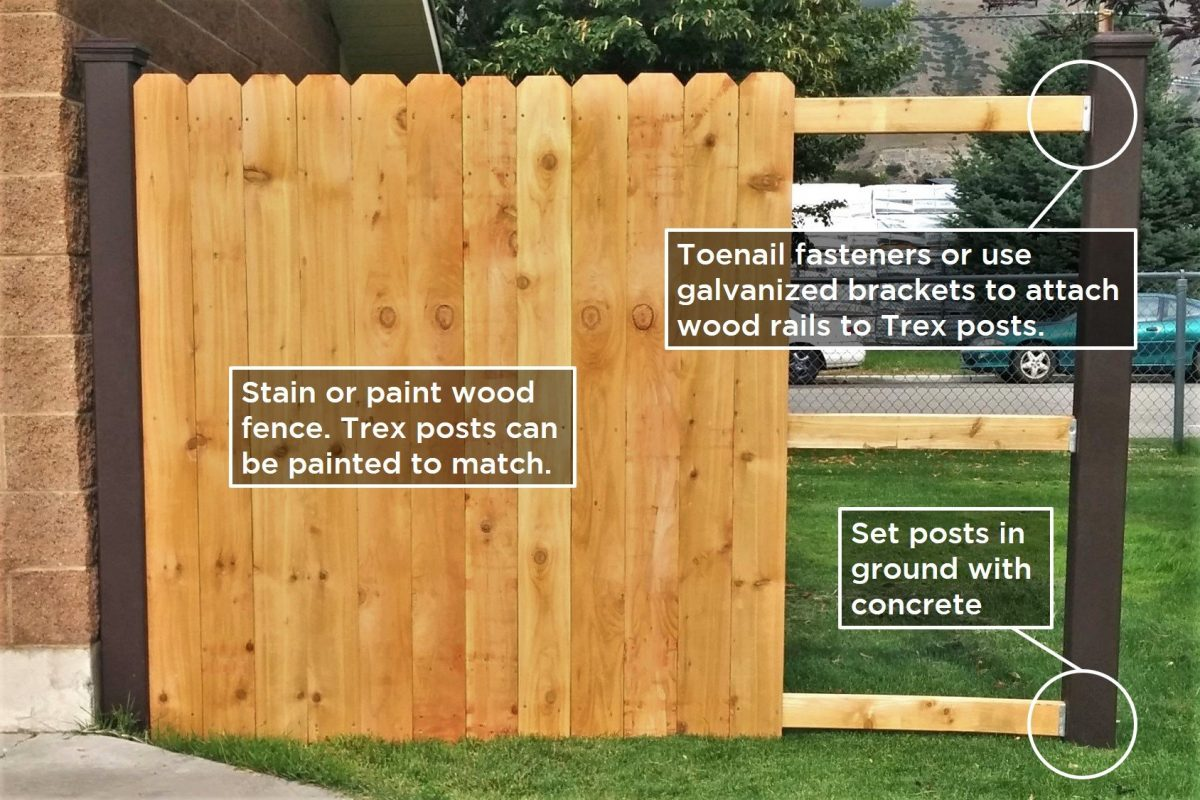 A fence with Trex posts and wood rails and pickets
