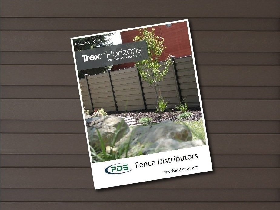 An installation guide for Trex Fencing superimposed over Trex Fencing pickets