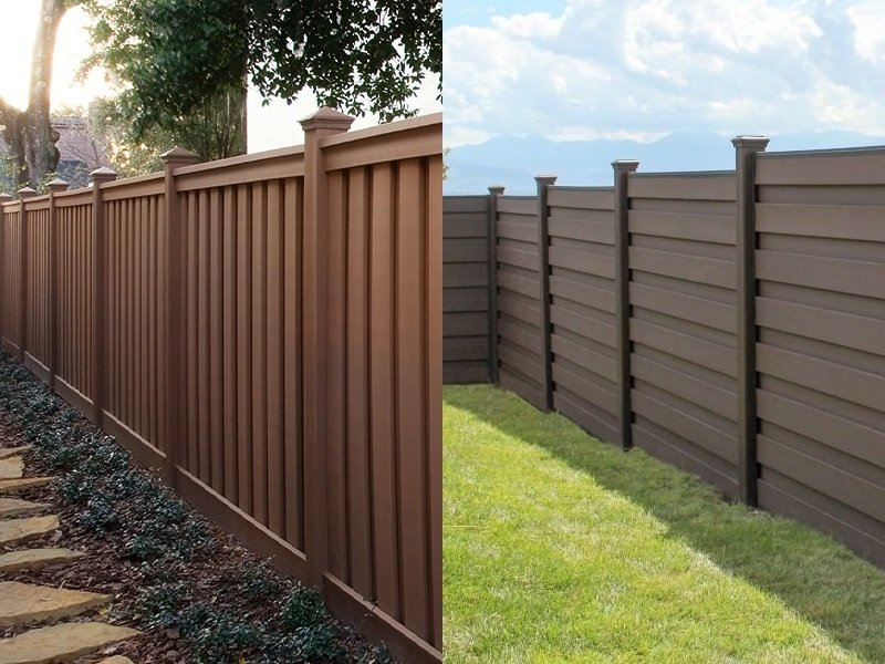 Two Trex Fencing Pictures side by side, one of Seclusions with vertical pickets and the other of Horizons with horizontal pickets