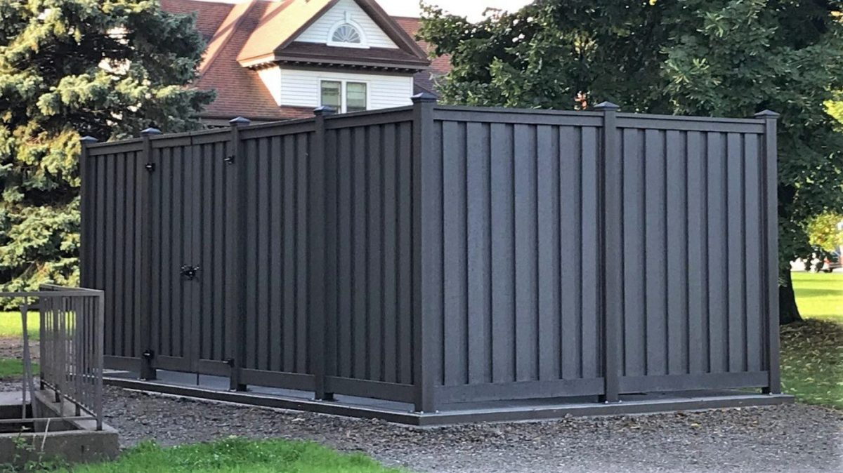 A generator enclosure made from Trex Fencing at Lawrence University in Wisconsin