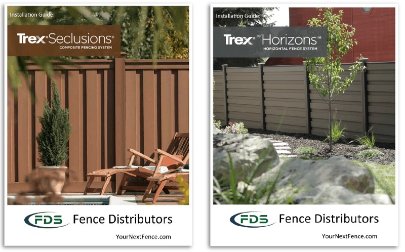 A picture of the covers for the Trex Fencing installation guides