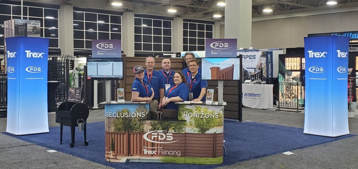 A picture of FDS Fence Distributors employees at the Trex Fencing booth at Fencetech Salt Lake City 2020