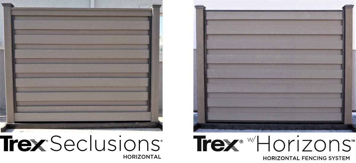 A side-by-side comparison of Trex Seclusions Horizontal and Trex w/Horizons systems