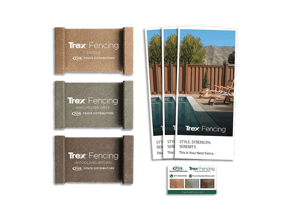 Pictures of Trex Fencing samples and brochures