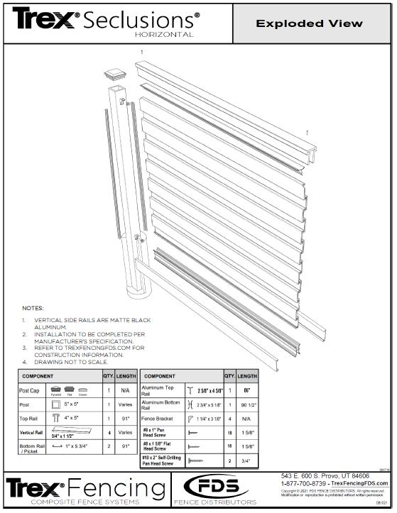 A shop drawing of a Trex Seclusions Horizontal Fence in Exploded View with a materials list